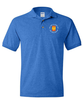 18th Field Artillery Embroidered Cotton Polo Shirt (STEEL)(C)
