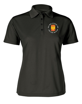 18th Field Artillery Ladies Embroidered Moisture Wick Polo Shirt  (STEEL)(C)