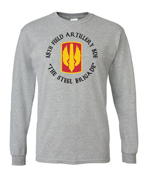 18th Field Artillery Long-Sleeve Cotton T-Shirt (STEEL)(C)(FF)
