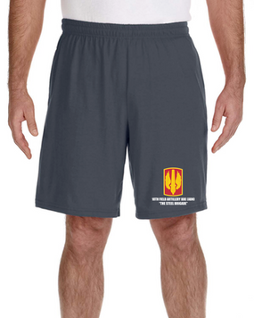 18th Field Artillery Embroidered Gym Shorts (STEEL)