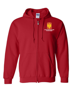 18th Field Artillery Embroidered Hooded Sweatshirt with Zipper  (STEEL)