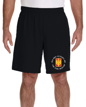 18th Field Artillery Embroidered Gym Shorts (STEEL)(C)