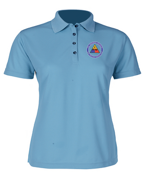 4th Armored Division Ladies Embroidered Moisture Wick Polo Shirt (PROUD)