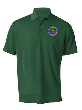 4th Armored Division Embroidered Moisture Wick Polo Shirt (PROUD)