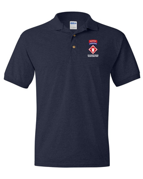 """20th Engineer (Airborne) """"Sapper"""" Embroidered Cotton Polo Shirt"""