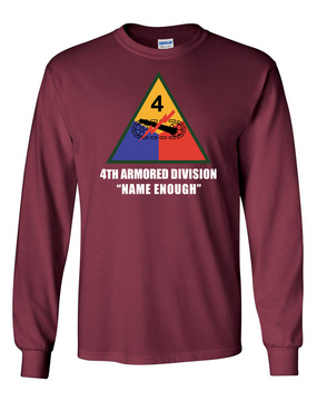 4th Armored Division  Long-Sleeve Cotton T-Shirt (FF)