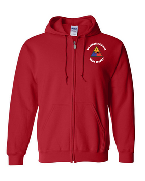 4th Armored Division Embroidered Hooded Sweatshirt with Zipper (C)