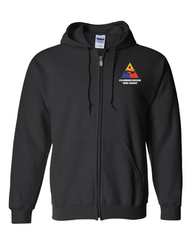 4th Armored Division Embroidered Hooded Sweatshirt with Zipper