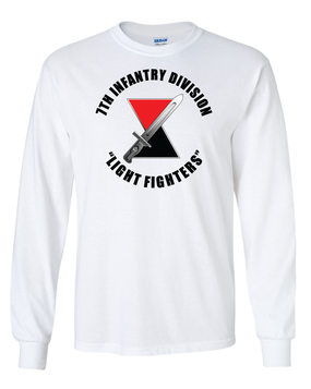 """7th Infantry Division """"Bayonet""""   Long-Sleeve Cotton T-Shirt  (FF)"""