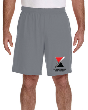 7th Infantry Division Embroidered Gym Shorts  (L)