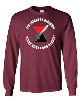 """7th Infantry Division """"Deadly""""   Long-Sleeve Cotton T-Shirt (C)(FF)"""