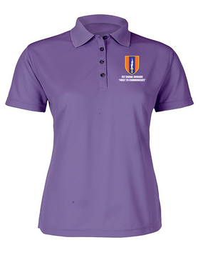1st Signal Brigade Ladies Embroidered Moisture Wick Polo Shirt