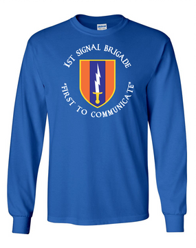 1st Signal Brigade Long-Sleeve Cotton T-Shirt -(C)(FF)