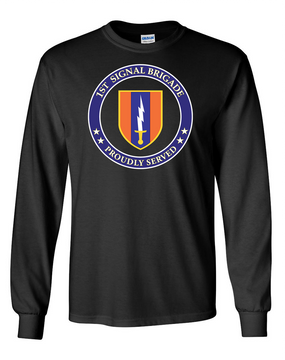 1st Signal Brigade Long-Sleeve Cotton T-Shirt -Proud (FF)