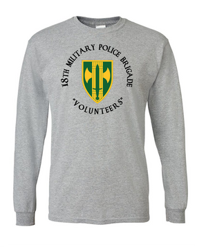 18th Military Police Brigade Long-Sleeve Cotton T-Shirt -(C)(FF)