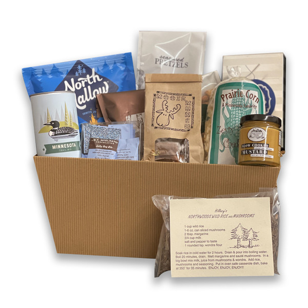 Gift basket with wild rice, prairie corn, moose munch, northshore lake stones, snowball almonds, birch bark, and trail mix