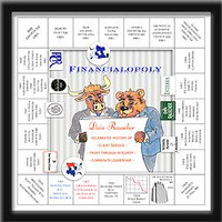 Handcrafted monopoly board that depicting highlights of a profession, company, division, or product with drawings and text