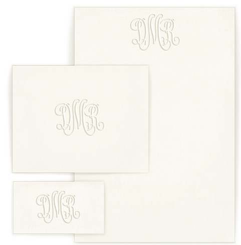 Personalized stationary wardrobe with monogram and optional return address on envelope