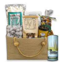 Gift basket arrangement filled with prairie corn, moose munch, jumbo turtle claw, birch bark and trail mix