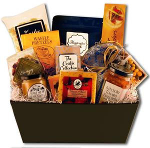 Gift basket featuring an assortment of chocolates, sweet and salty snacks, and dried fruit