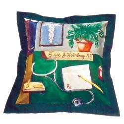 Hand painted pillow available in doctor, accountant, or attorney themes and personalized with name and title