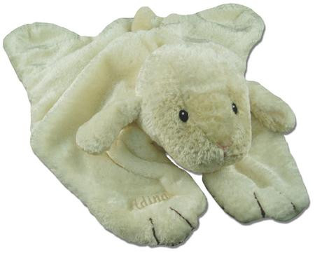 Personalized plush toy for infants to play, lie and roll around on, embroidered with child's name