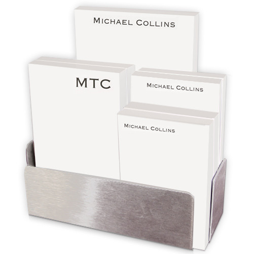 Personalized executive pad set presented in a white or stainless steel holder with small, medium, and large sized pads