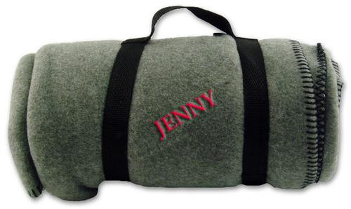 Personalized polar fleece blanket embroidered with recipients name