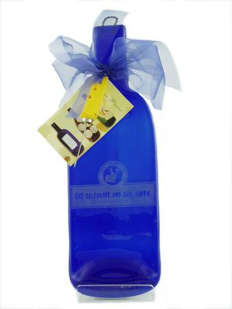Personalized cheese platter made from a recycled wine bottle with names, date of occasion and choice of label sayings