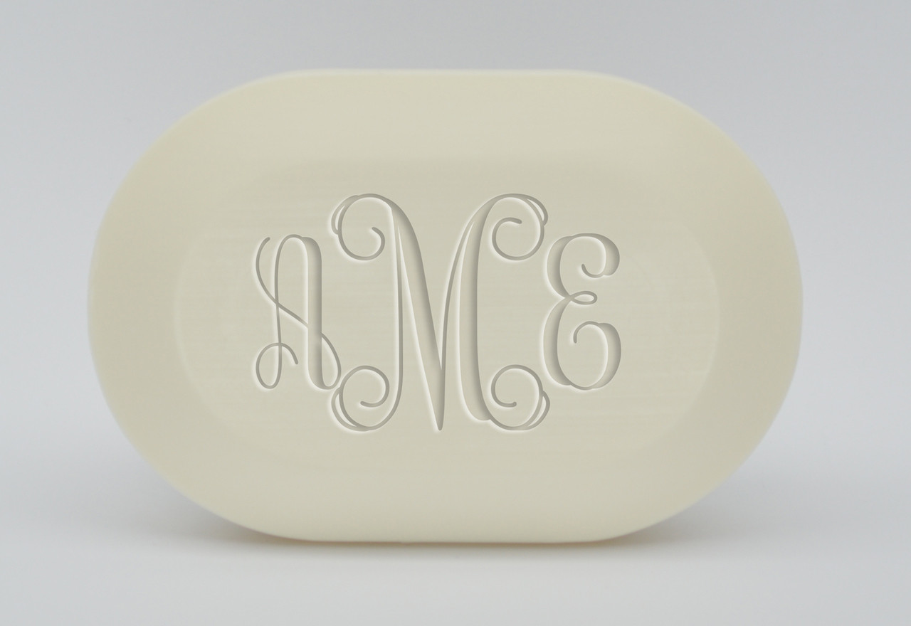 Monogram soap set personalized with recipients initials and made from 100% vegetable oil with an aqua mineral scent
