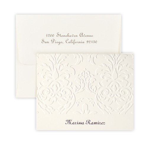 Personalized Damask note card and envelope set embossed with names and optional return address on envelope