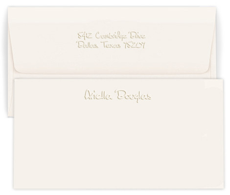 Personalized note card and envelope set embossed with names and optional return address on envelope