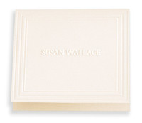 Personalized note card and envelope set embossed with first and last name with the choice of paper color