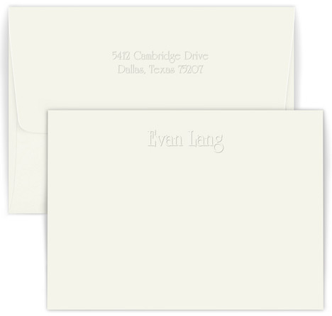 Personalized Edwardian note card and envelope set embossed with names and optional return address on envelope