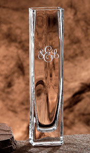 Handmade bud vase personalized with initials or monogram and choice of six engraving styles