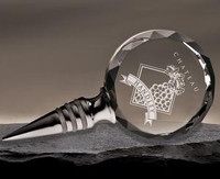 Customized crystal wine bottle stopper made from faceted optic crystal and polished stainless with acrylic ribs
