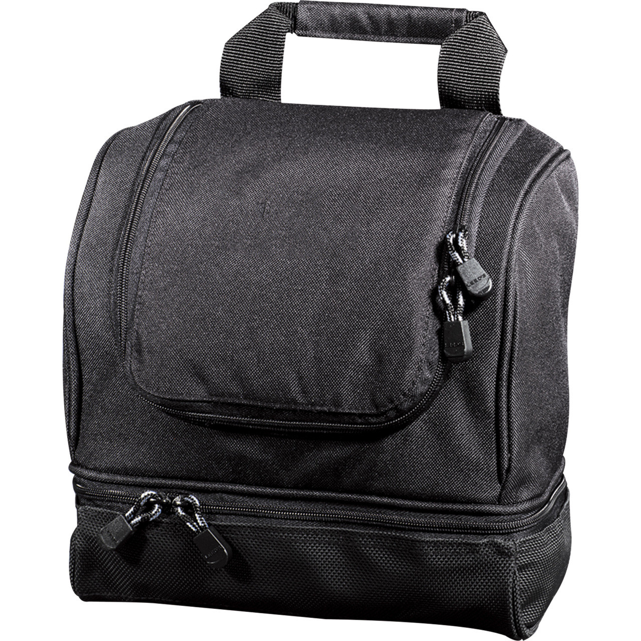 Personalized travel utility kit with zippered wet pocket, interior mesh pocket, and debossed with recipients initials