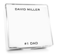 Personalized memo pad with text at top and bottom and choice of ink colors