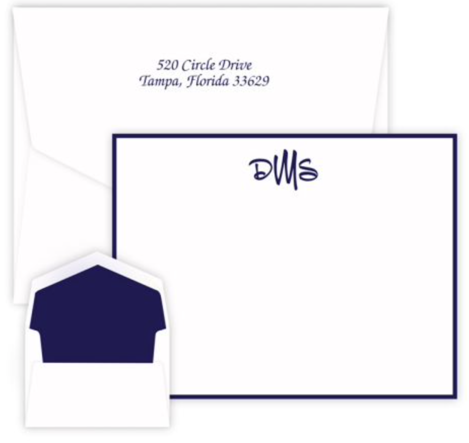 Personalized card and envelope set with monogram, and optional return address on envelope