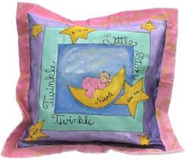 Hand painted baby pillow personalized with child's name and optional birth information