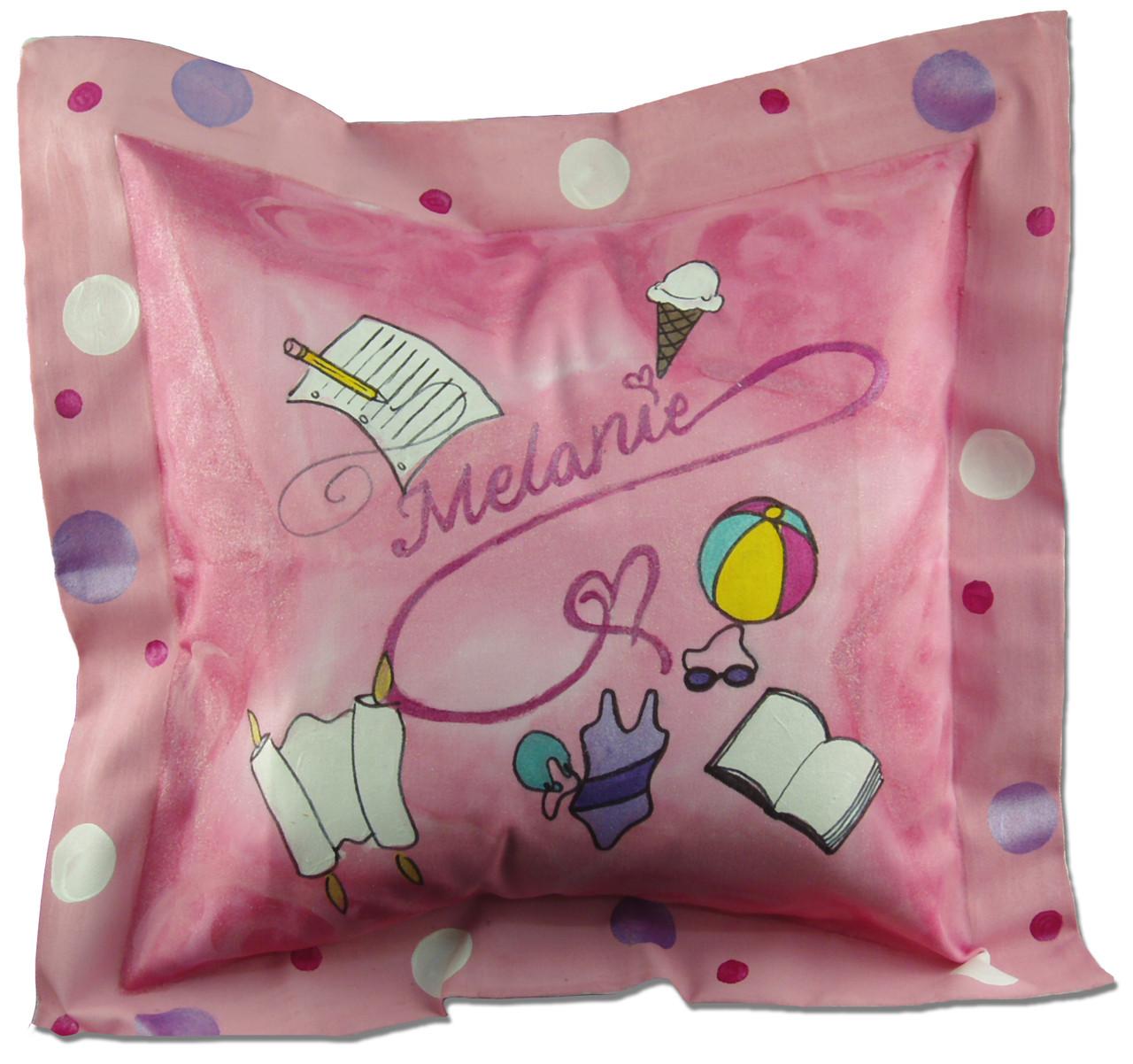Hand painted Bat Mitzvah pillow with first name, Bat Mitzvah date and Torah portion, and recipient's hobbies