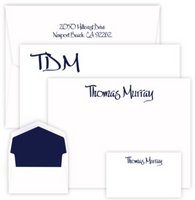Personalized stationary set with large, medium, and enclosure sized cards printed with names