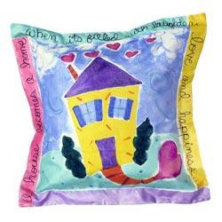 Hand painted pillow personalized with family name and up to ten individual names, and border text