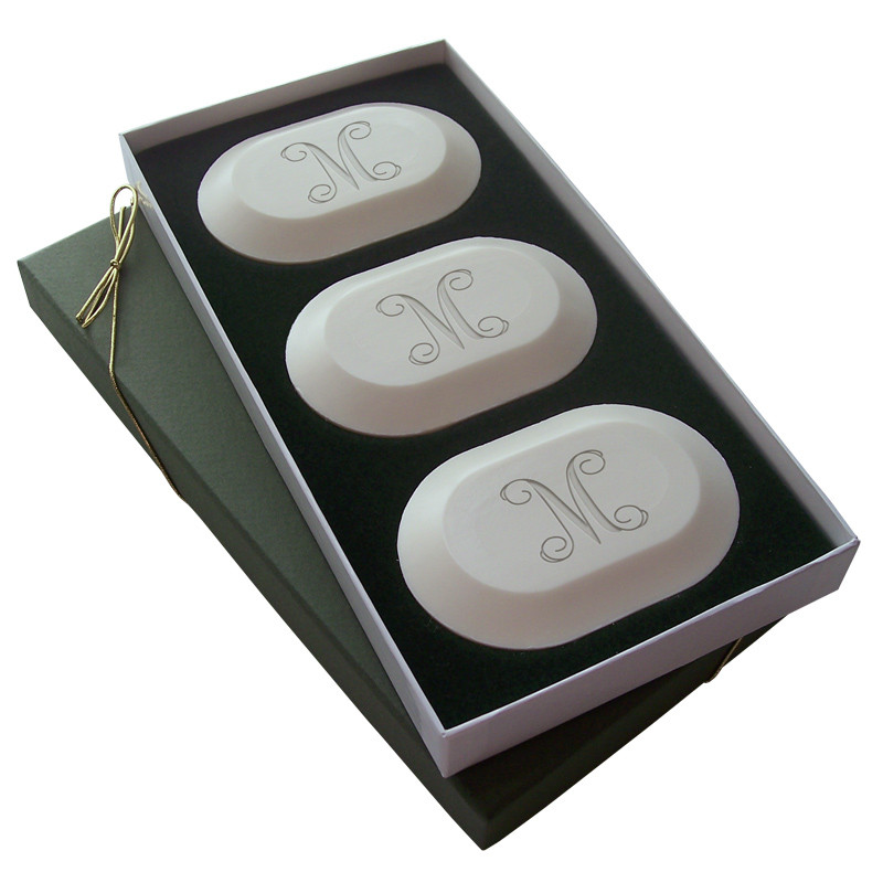 Custom soap bar set personalized with initial, and choice of three engraving styles