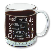 Personalized 13oz glass coffee cup with recipients name and a custom word puzzle of up to 15 words