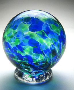 Hand blown glass gratitude globe designed to be a piggy bank for gratitudes, dreams, blessing, wishes and thank yous