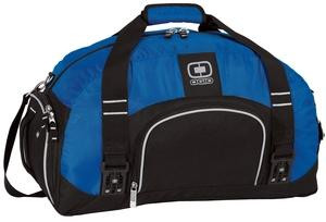 Duffle bag with ventilated shoe compartment, front zippered pocket, and personalized with first name or initials