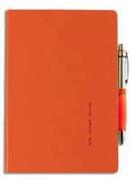 Hardcover journal with 192 pages of lined paper, bookmark ribbon, pen loop, pen, elastic band closure and back pocket