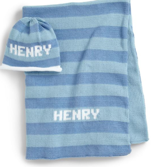 Personalized knit blanket and beanie