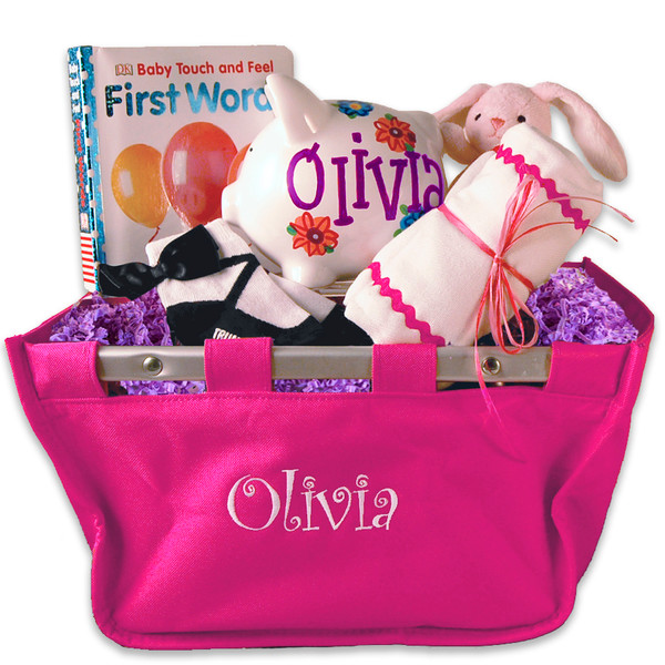 Personalized market tote baby basket